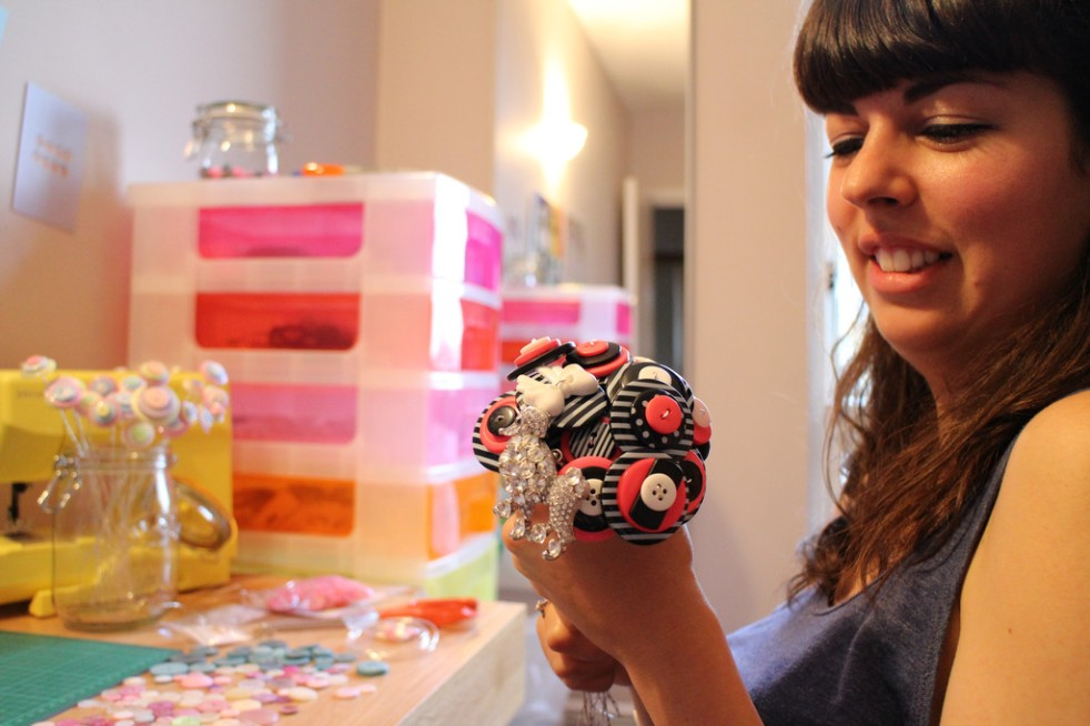 Monica hard at work creating the Parisian button and brooch bouquet
