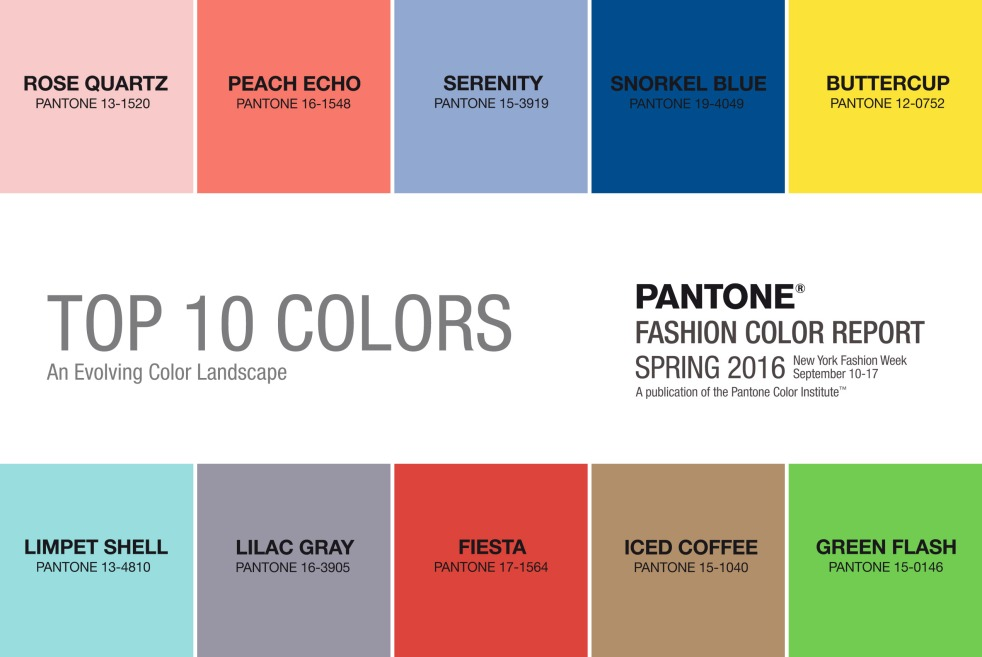 Pantone's top 10 colours for 2016